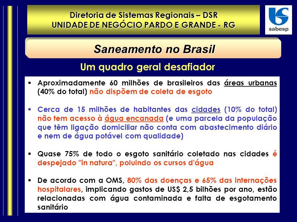 Diretoria de Sistemas Regionais – DSR UNIDADE DE NEGÓCIO PARDO E GRANDE - RG Saneamento no Brasil Aproximadamente 60 milhões de brasileiros das áreas urbanas (40% do total) não dispõem de coleta de esgoto Cerca de 15 milhões de habitantes das cidades (10% do total) não tem acesso à água encanada (e uma parcela da população que têm ligação domiciliar não conta com abastecimento diário e nem de água potável com qualidade) Quase 75% de todo o esgoto sanitário coletado nas cidades é despejado in natura , poluindo os cursos d água De acordo com a OMS, 80% das doenças e 65% das internações hospitalares, implicando gastos de US$ 2,5 bilhões por ano, estão relacionadas com água contaminada e falta de esgotamento sanitário Um quadro geral desafiador
