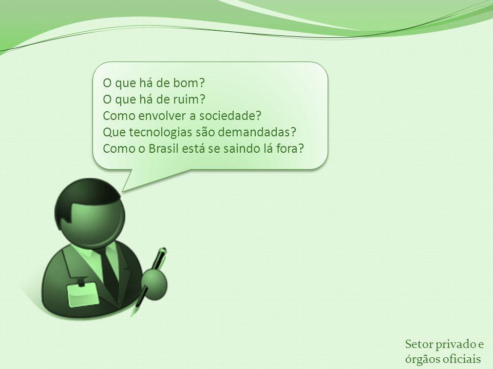 O que há de bom? O que há de ruim? Como envolver a sociedade? Que tecnologias são demandadas? Como o Brasil está se saindo lá fora? O que há de bom? O
