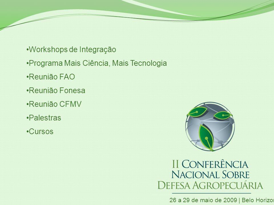 26 a 29 de maio de 2009 | Belo Horizonte | MG Workshops de Integração Programa Mais Ciência, Mais Tecnologia Reunião FAO Reunião Fonesa Reunião CFMV P