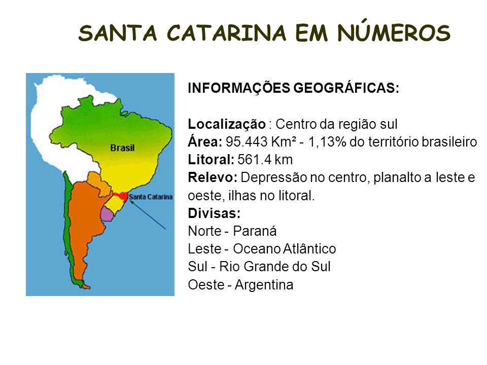 INFORMAÇÕES GEOGRÁFICAS: Localização : Centro da região sul Área: 95.443 Km² - 1,13% do território brasileiro Litoral: 561.4 km Relevo: Depressão no centro, planalto a leste e oeste, ilhas no litoral.