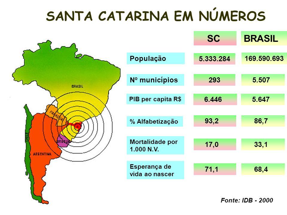 População SCBRASIL Nº municípios 5.333.284 169.590.693 293 5.507 PIB per capita R$ 6.446 5.647 Mortalidade por 1.000 N.V.