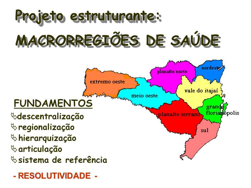 FUNDAMENTOS descentralização regionalização hierarquização articulação sistema de referência - RESOLUTIVIDADE - Projeto estruturante: Projeto estruturante: MACRORREGIÕES DE SAÚDE