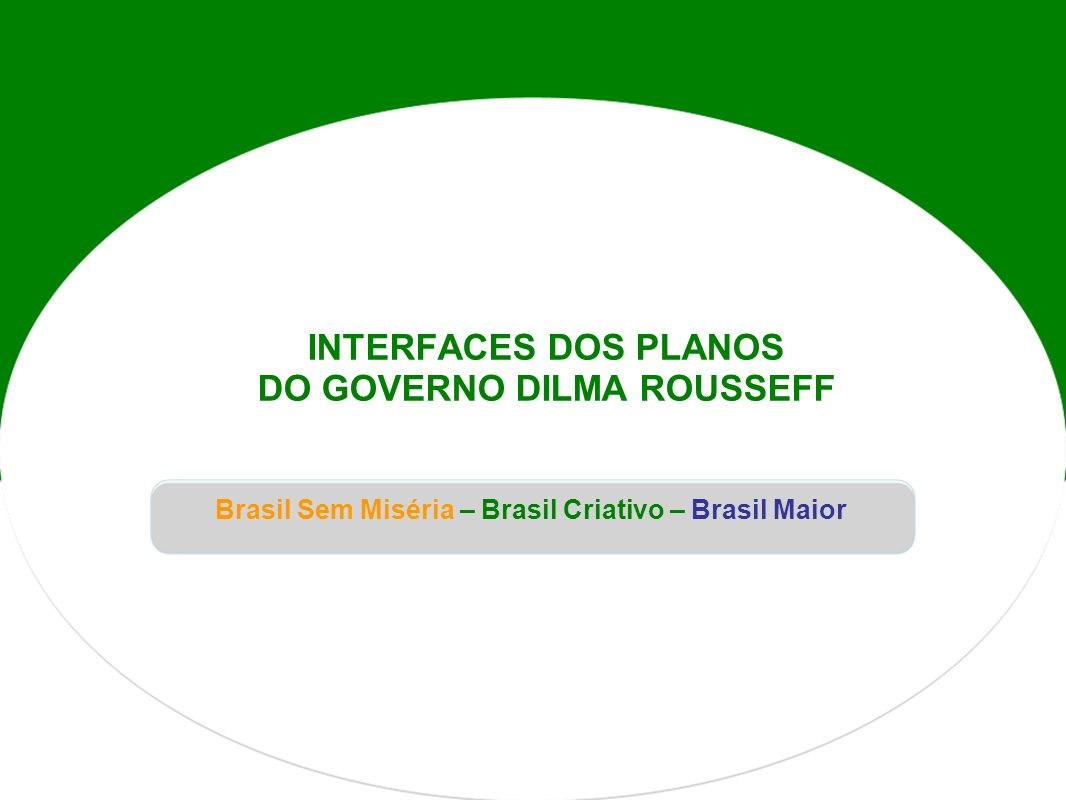 INTERFACES DOS PLANOS DO GOVERNO DILMA ROUSSEFF Brasil Sem Miséria – Brasil Criativo – Brasil Maior
