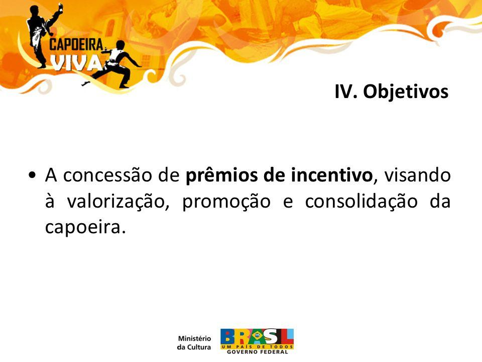 A concessão de prêmios de incentivo, visando à valorização, promoção e consolidação da capoeira.
