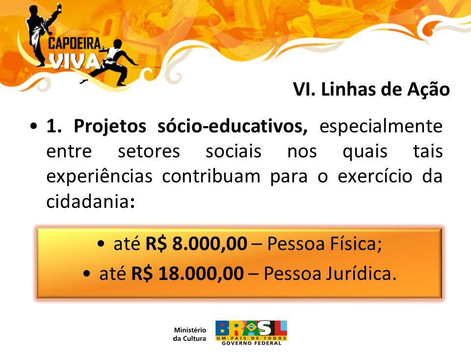 1. Projetos sócio-educativos, especialmente entre setores sociais nos quais tais experiências contribuam para o exercício da cidadania: até R$ 8.000,0