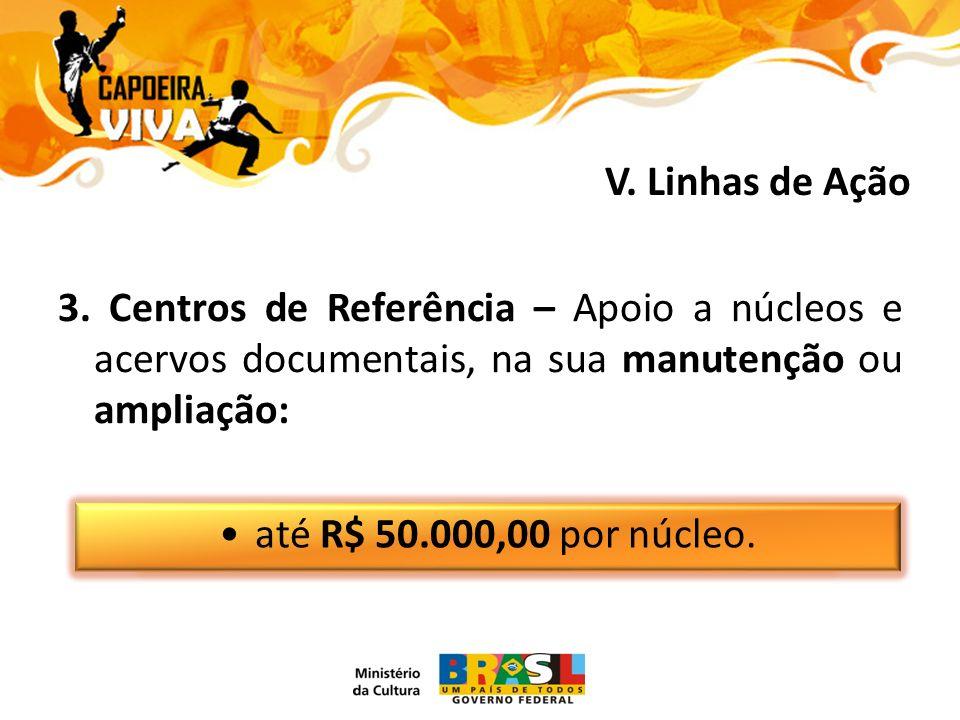 3. Centros de Referência – Apoio a núcleos e acervos documentais, na sua manutenção ou ampliação: até R$ 50.000,00 por núcleo. V. Linhas de Ação