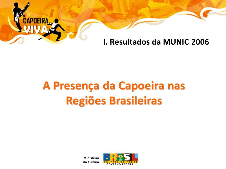 A Presença da Capoeira nas Regiões Brasileiras RegiõesGrupos Existentes% NORDESTE1.06439,18 % SUDESTE84731,19 % SUL34412,67 % CENTRO OESTE2489,13 % NORTE2137,84 % BRASIL - Total2.716100,00 %