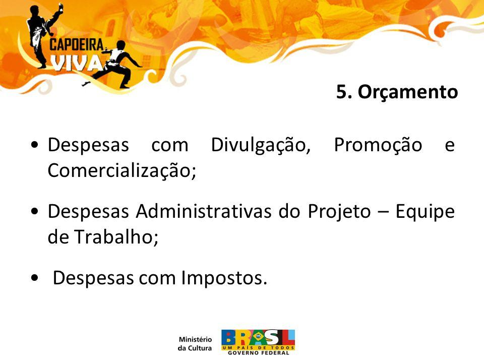 Despesas com Divulgação, Promoção e Comercialização; Despesas Administrativas do Projeto – Equipe de Trabalho; Despesas com Impostos.