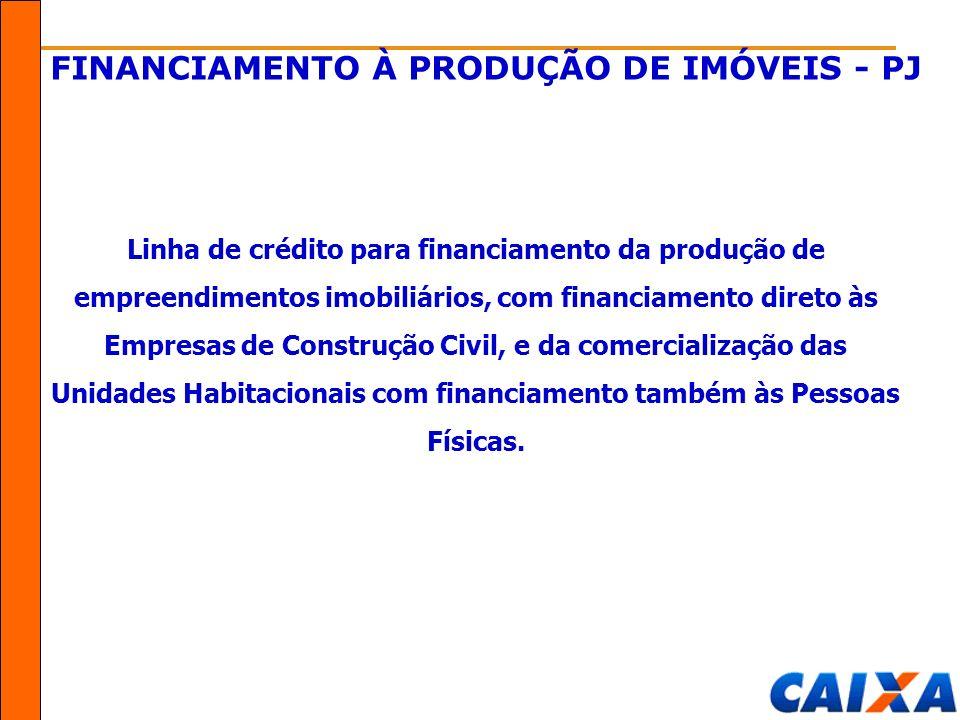FINANCIAMENTO À PRODUÇÃO DE IMÓVEIS - PJ Linha de crédito para financiamento da produção de empreendimentos imobiliários, com financiamento direto às