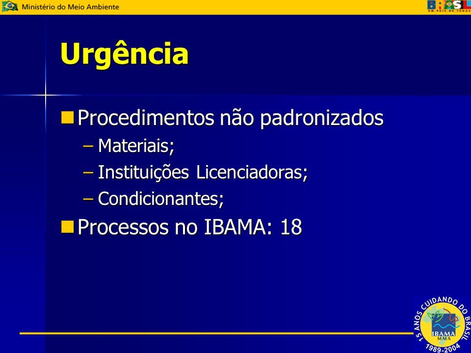 Urgência Procedimentos não padronizados Procedimentos não padronizados –Materiais; –Instituições Licenciadoras; –Condicionantes; Processos no IBAMA: 1