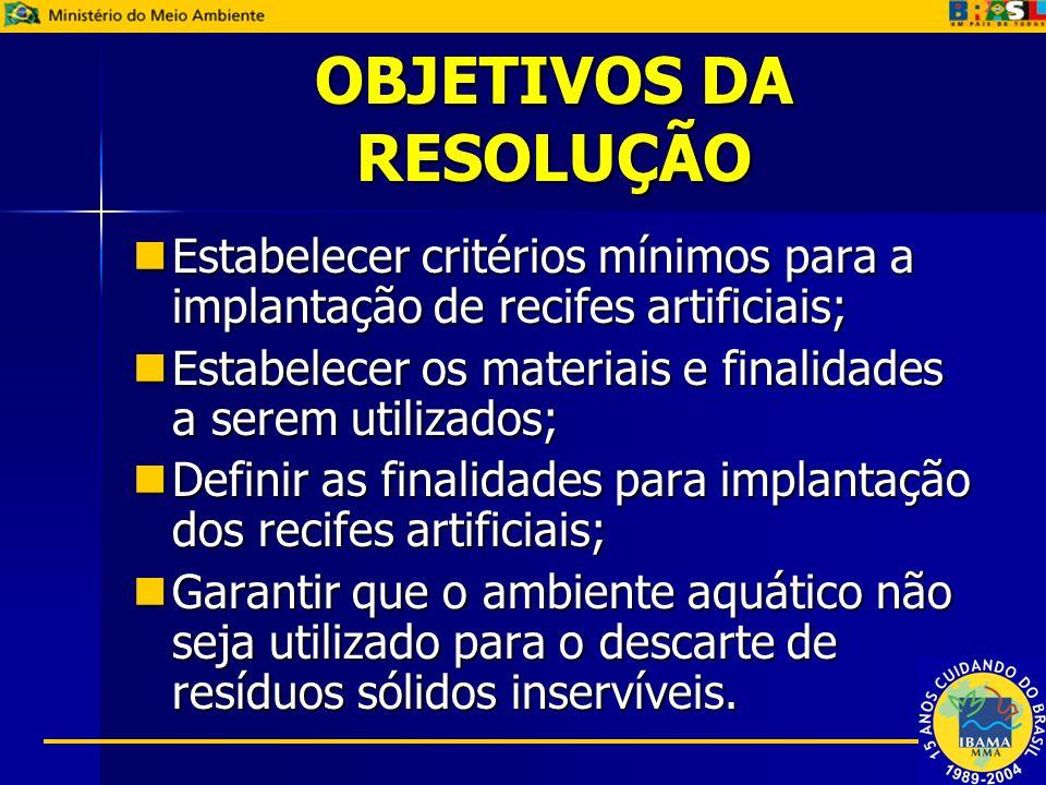 OBJETIVOS DA RESOLUÇÃO Estabelecer critérios mínimos para a implantação de recifes artificiais; Estabelecer critérios mínimos para a implantação de re