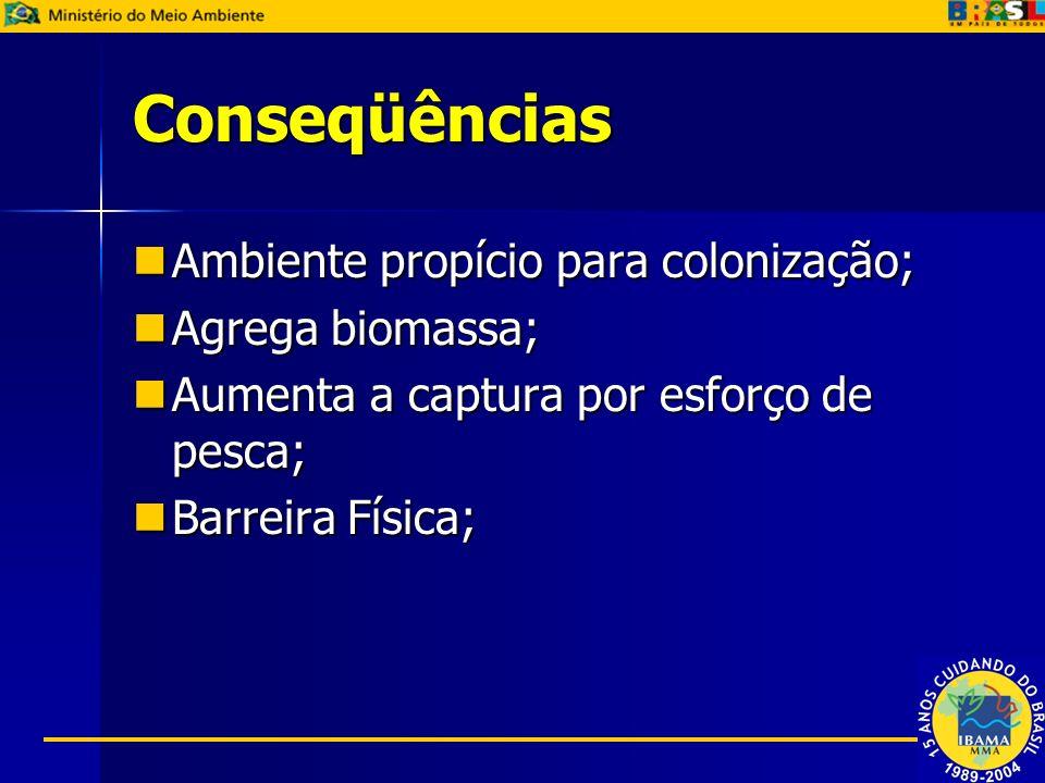 Conseqüências Ambiente propício para colonização; Ambiente propício para colonização; Agrega biomassa; Agrega biomassa; Aumenta a captura por esforço