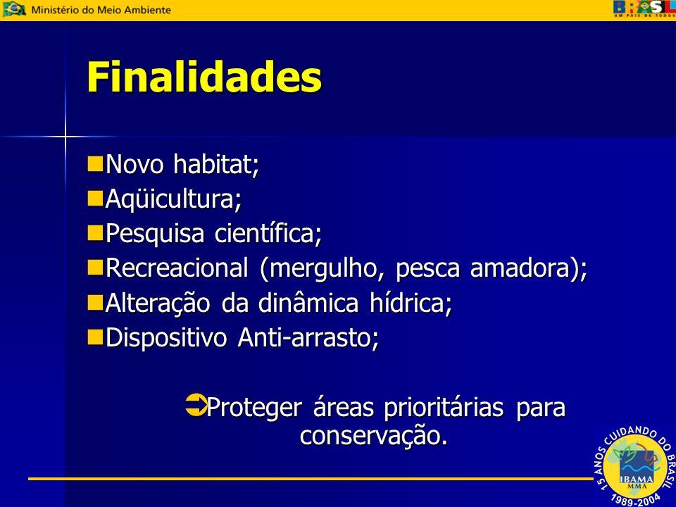 Finalidades Novo habitat; Novo habitat; Aqüicultura; Aqüicultura; Pesquisa científica; Pesquisa científica; Recreacional (mergulho, pesca amadora); Re