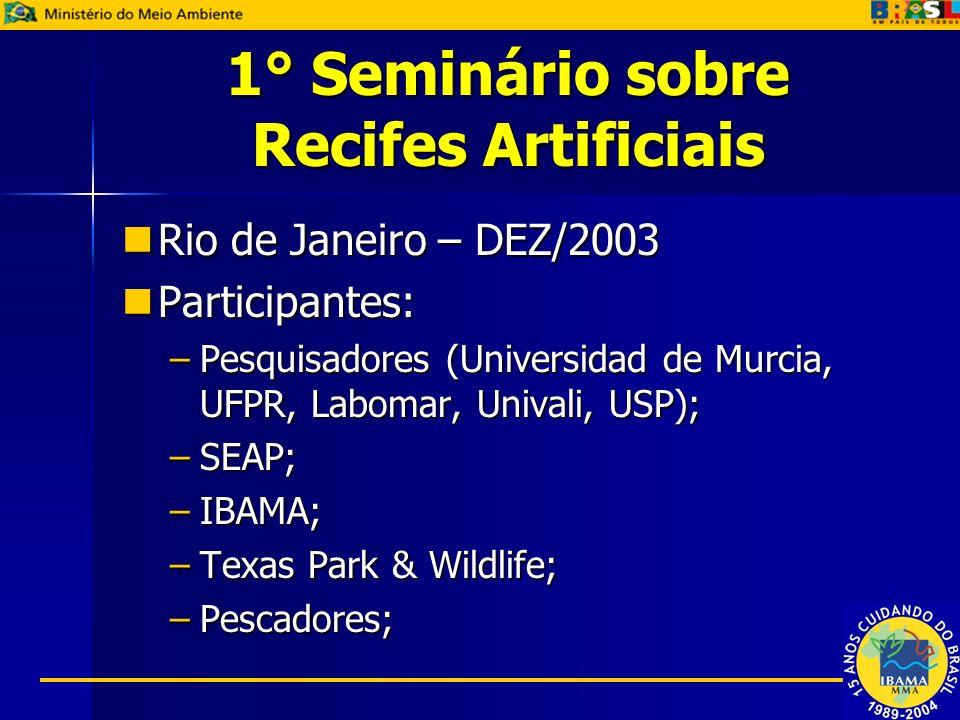 1° Seminário sobre Recifes Artificiais Rio de Janeiro – DEZ/2003 Rio de Janeiro – DEZ/2003 Participantes: Participantes: –Pesquisadores (Universidad d