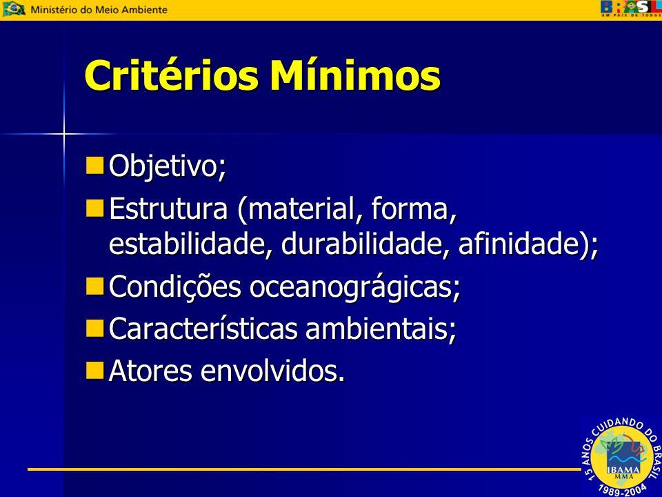 Critérios Mínimos Objetivo; Objetivo; Estrutura (material, forma, estabilidade, durabilidade, afinidade); Estrutura (material, forma, estabilidade, du