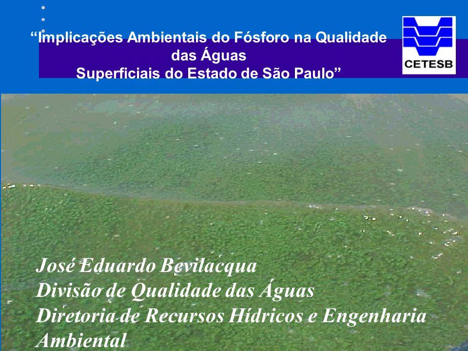 Implicações Ambientais do Fósforo na Qualidade das Águas Superficiais do Estado de São Paulo José Eduardo Bevilacqua Divisão de Qualidade das Águas Diretoria de Recursos Hídricos e Engenharia Ambiental