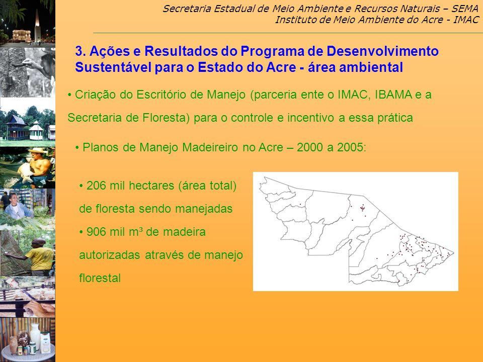 Secretaria Estadual de Meio Ambiente e Recursos Naturais – SEMA Instituto de Meio Ambiente do Acre - IMAC Planos de Manejo Madeireiro no Acre – 2000 a