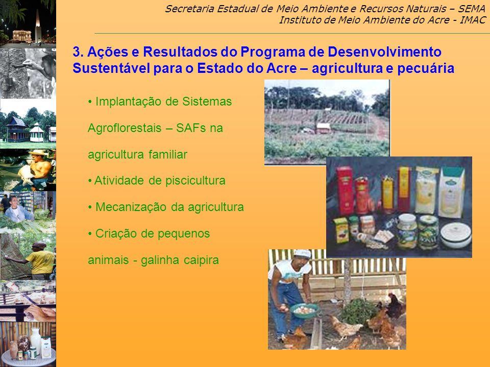 Secretaria Estadual de Meio Ambiente e Recursos Naturais – SEMA Instituto de Meio Ambiente do Acre - IMAC Implantação de Sistemas Agroflorestais – SAF
