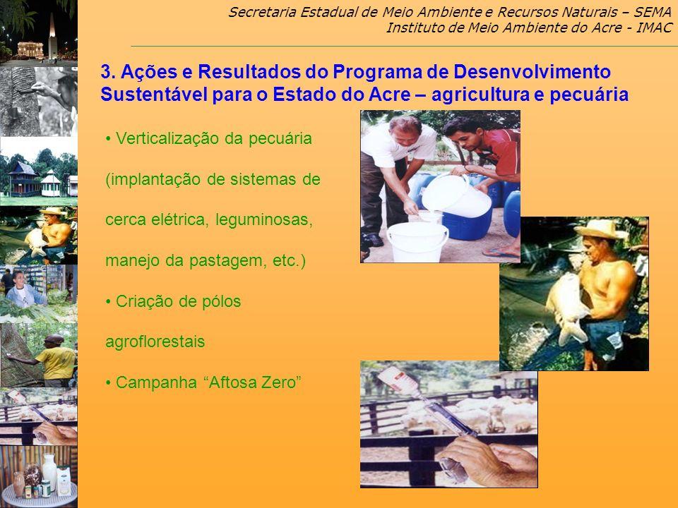 Secretaria Estadual de Meio Ambiente e Recursos Naturais – SEMA Instituto de Meio Ambiente do Acre - IMAC Verticalização da pecuária (implantação de s