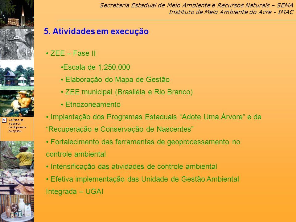 Secretaria Estadual de Meio Ambiente e Recursos Naturais – SEMA Instituto de Meio Ambiente do Acre - IMAC 5. Atividades em execução ZEE – Fase II Esca