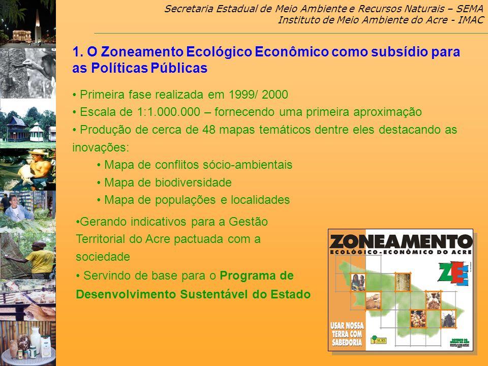 Secretaria Estadual de Meio Ambiente e Recursos Naturais – SEMA Instituto de Meio Ambiente do Acre - IMAC 1. O Zoneamento Ecológico Econômico como sub