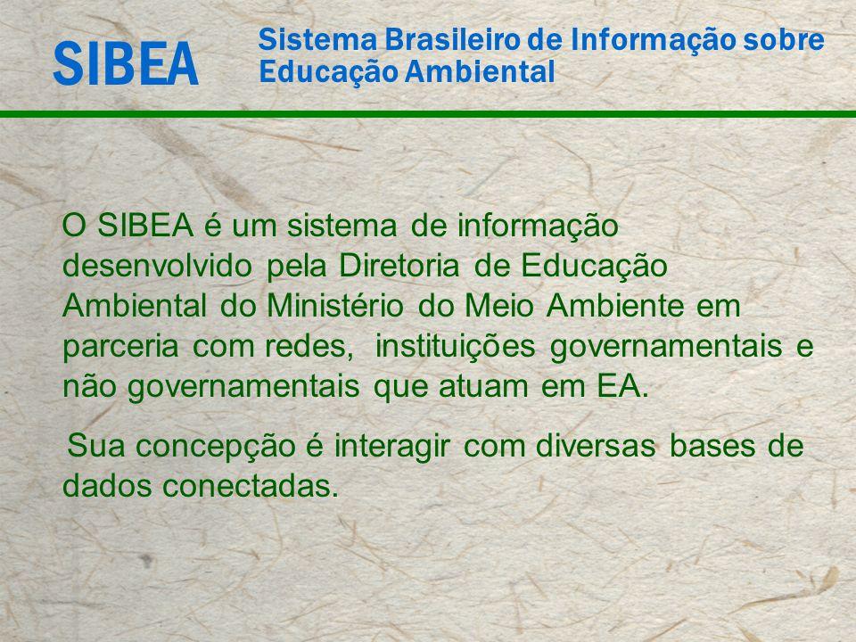 SIBEA Sistema Brasileiro de Informação sobre Educação Ambiental O SIBEA é um sistema de informação desenvolvido pela Diretoria de Educação Ambiental d
