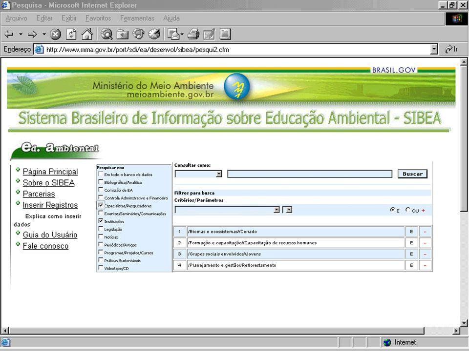 SIBEA Sistema Brasileiro de Informação sobre Educação Ambiental