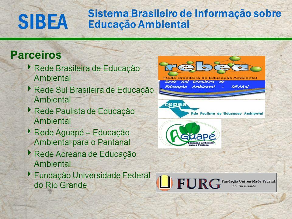 SIBEA Sistema Brasileiro de Informação sobre Educação Ambiental Parceiros Rede Brasileira de Educação Ambiental Rede Sul Brasileira de Educação Ambien