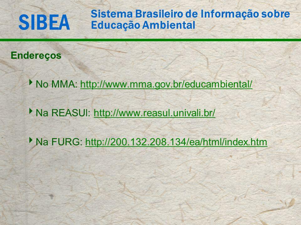 SIBEA Sistema Brasileiro de Informação sobre Educação Ambiental Endereços No MMA: http://www.mma.gov.br/educambiental/http://www.mma.gov.br/educambien