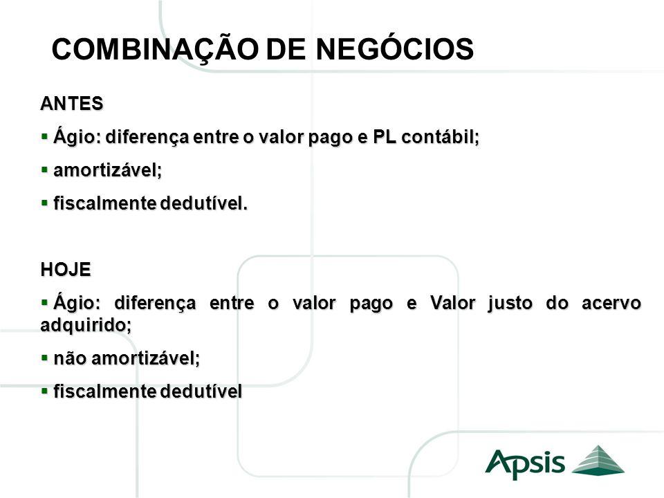 COMBINAÇÃO DE NEGÓCIOS ANTES Ágio: diferença entre o valor pago e PL contábil; Ágio: diferença entre o valor pago e PL contábil; amortizável; amortizá