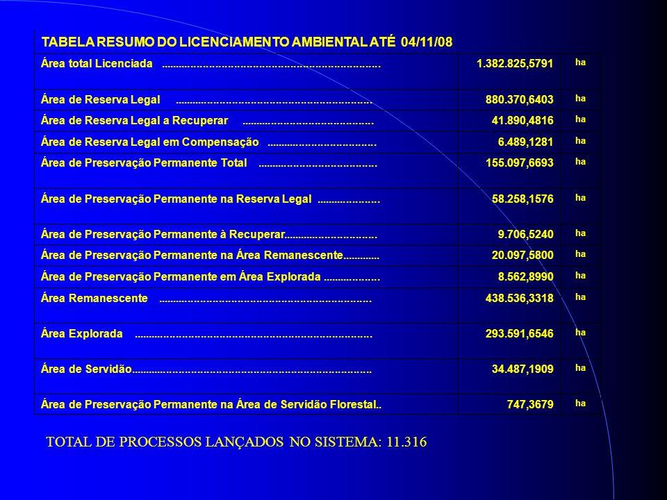 TABELA RESUMO DO LICENCIAMENTO AMBIENTAL ATÉ 04/11/08 Área total Licenciada.......................................................................1.382.825,5791 ha Área de Reserva Legal................................................................880.370,6403 ha Área de Reserva Legal a Recuperar...........................................41.890,4816 ha Área de Reserva Legal em Compensação....................................6.489,1281 ha Área de Preservação Permanente Total.......................................155.097,6693 ha Área de Preservação Permanente na Reserva Legal.....................58.258,1576 ha Área de Preservação Permanente à Recuperar...............................9.706,5240 ha Área de Preservação Permanente na Área Remanescente.............20.097,5800 ha Área de Preservação Permanente em Área Explorada...................8.562,8990 ha Área Remanescente.....................................................................438.536,3318 ha Área Explorada.............................................................................293.591,6546 ha Área de Servidão..............................................................................34.487,1909 ha Área de Preservação Permanente na Área de Servidão Florestal..