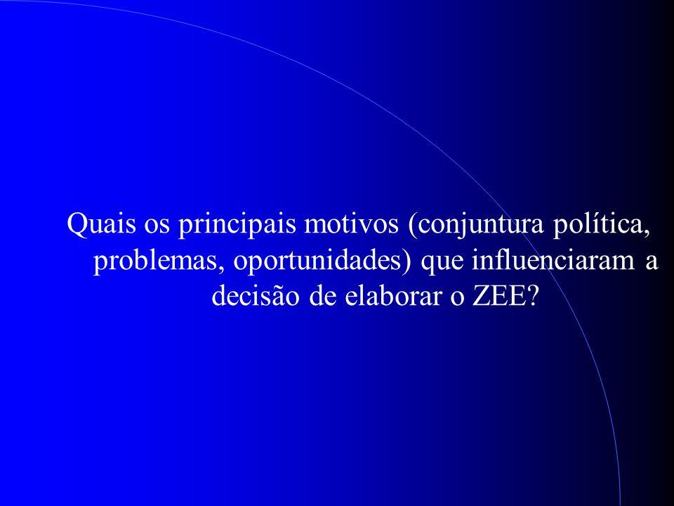Quais os principais motivos (conjuntura política, problemas, oportunidades) que influenciaram a decisão de elaborar o ZEE?