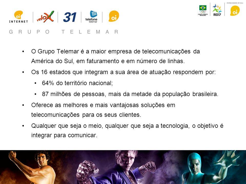 O Grupo Telemar é a maior empresa de telecomunicações da América do Sul, em faturamento e em número de linhas. Os 16 estados que integram a sua área d