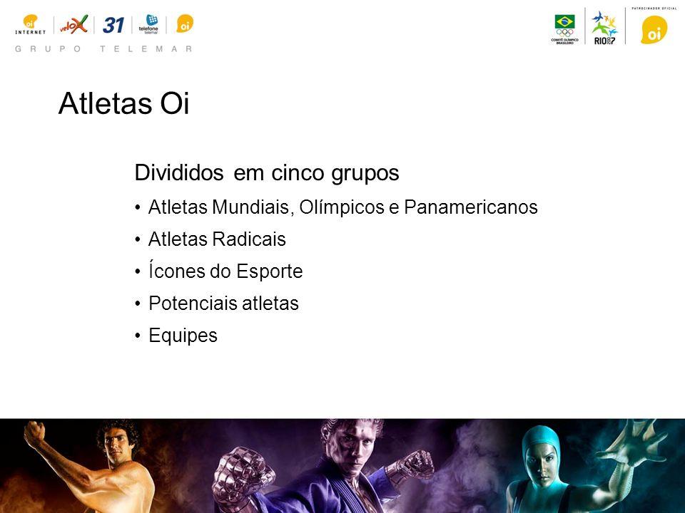 Divididos em cinco grupos Atletas Mundiais, Olímpicos e Panamericanos Atletas Radicais Ícones do Esporte Potenciais atletas Equipes Atletas Oi