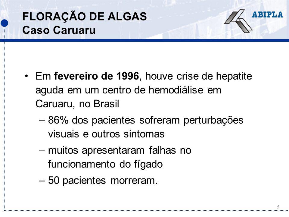 6 FLORAÇÃO DE ALGAS Caso Caruaru A evidência biológica e química suporta a hipótese inicial de morte por efeitos da toxina microcistina na água da diálise (Tundisi, 2003).