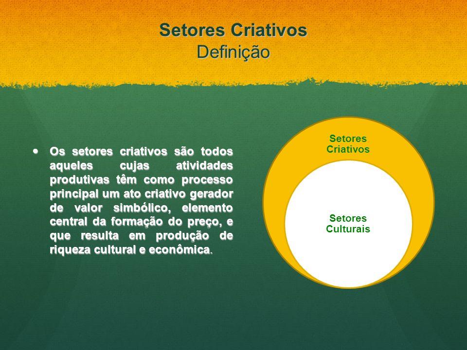 Setores Criativos Definição Os setores criativos são todos aqueles cujas atividades produtivas têm como processo principal um ato criativo gerador de