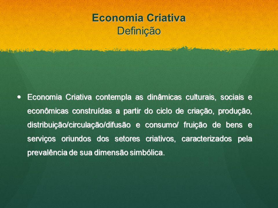 Economia Criativa Definição Economia Criativa contempla as dinâmicas culturais, sociais e econômicas construídas a partir do ciclo de criação, produçã