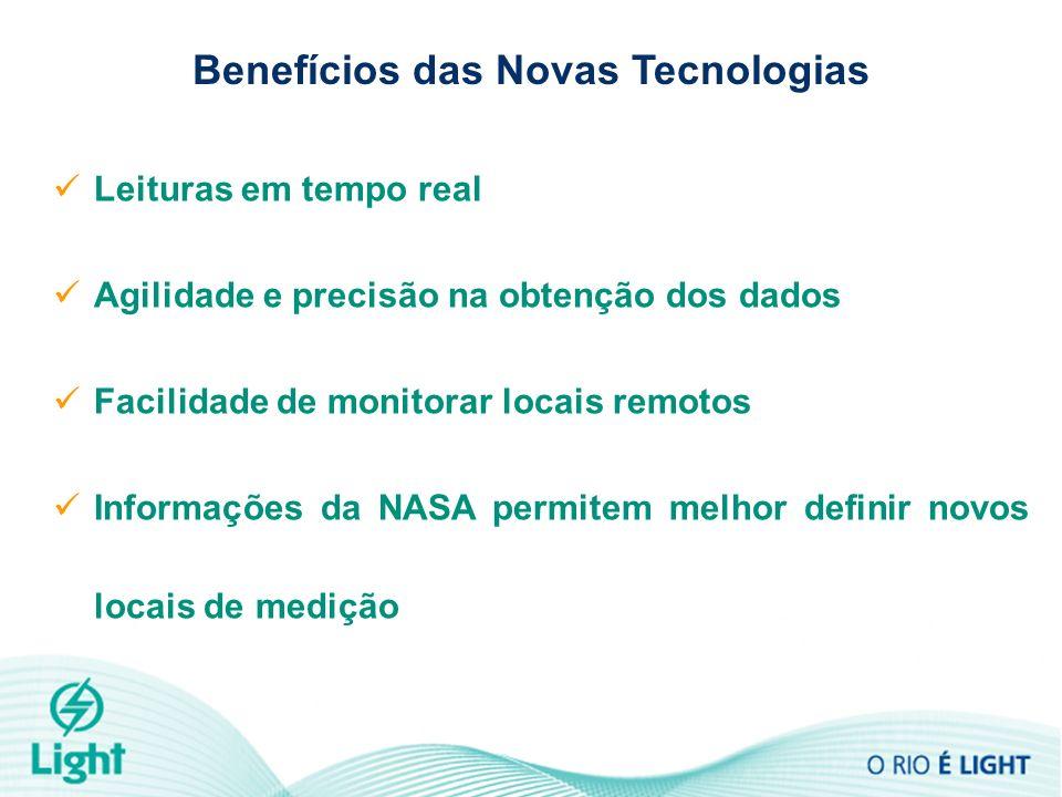 Benefícios das Novas Tecnologias Leituras em tempo real Agilidade e precisão na obtenção dos dados Facilidade de monitorar locais remotos Informações