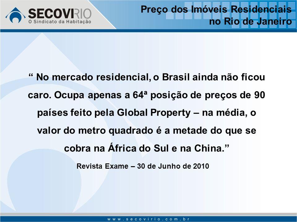 Preço dos Imóveis Residenciais no Rio de Janeiro No mercado residencial, o Brasil ainda não ficou caro.