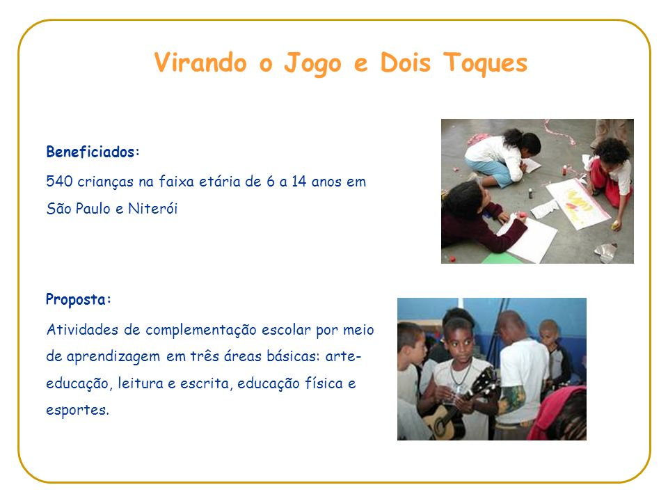 Beneficiados: 540 crianças na faixa etária de 6 a 14 anos em São Paulo e Niterói Proposta: Atividades de complementação escolar por meio de aprendizagem em três áreas básicas: arte- educação, leitura e escrita, educação física e esportes.