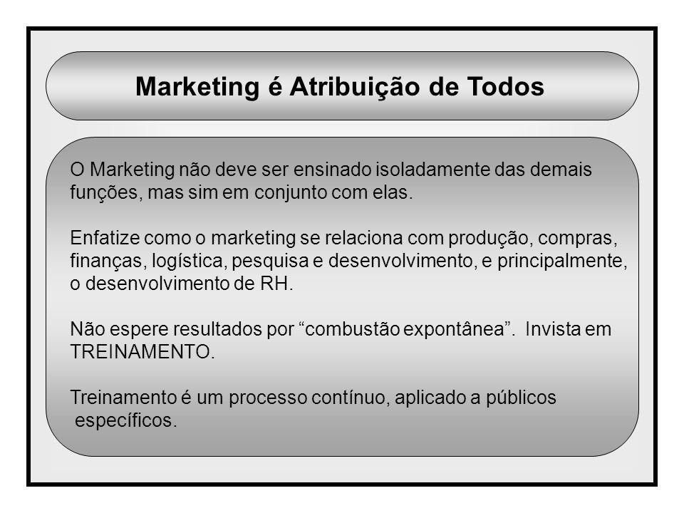 Marketing é Atribuição de Todos O Marketing não deve ser ensinado isoladamente das demais funções, mas sim em conjunto com elas. Enfatize como o marke