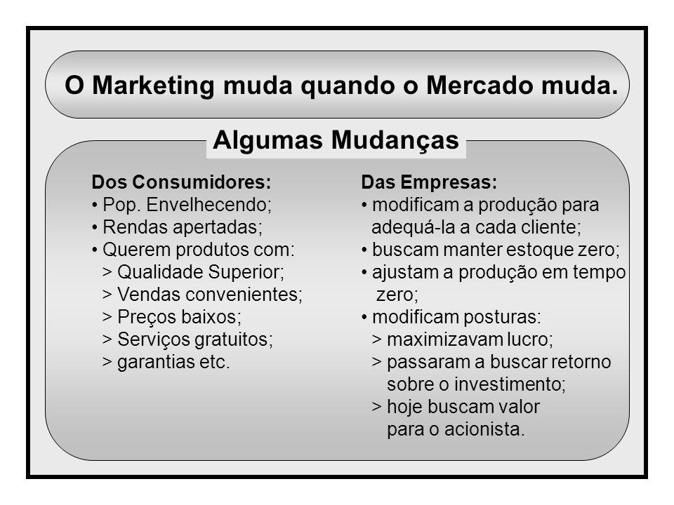 O Marketing muda quando o Mercado muda. Algumas Mudanças Dos Consumidores: Pop. Envelhecendo; Rendas apertadas; Querem produtos com: > Qualidade Super