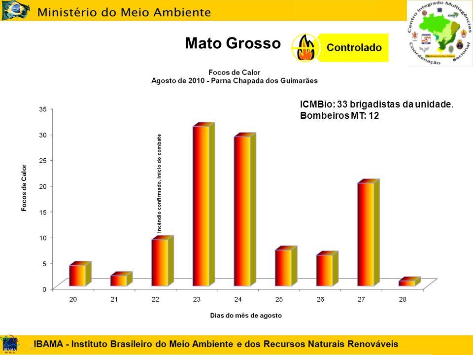 Mato Grosso ICMBio: 33 brigadistas da unidade. Bombeiros MT: 12