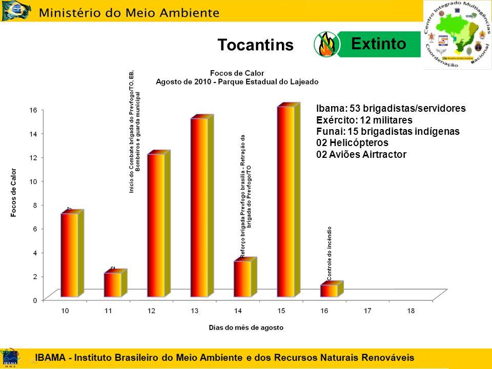 Tocantins Ibama: 53 brigadistas/servidores Exército: 12 militares Funai: 15 brigadistas indígenas 02 Helicópteros 02 Aviões Airtractor