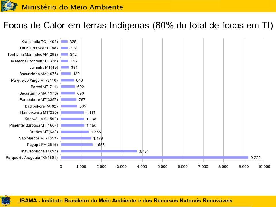 Focos de Calor em terras Indígenas (80% do total de focos em TI)