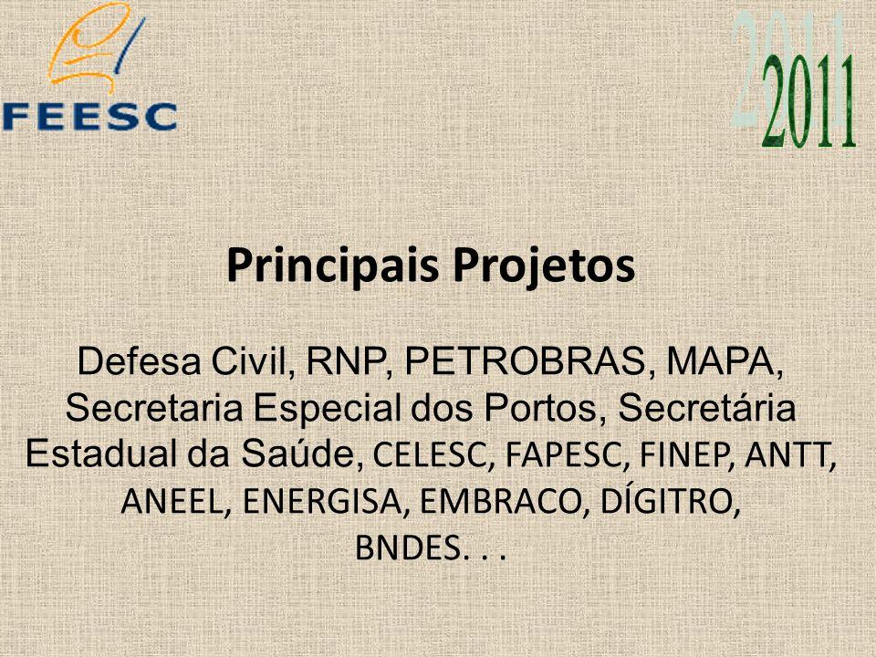 Principais Projetos Defesa Civil, RNP, PETROBRAS, MAPA, Secretaria Especial dos Portos, Secretária Estadual da Saúde, CELESC, FAPESC, FINEP, ANTT, ANE