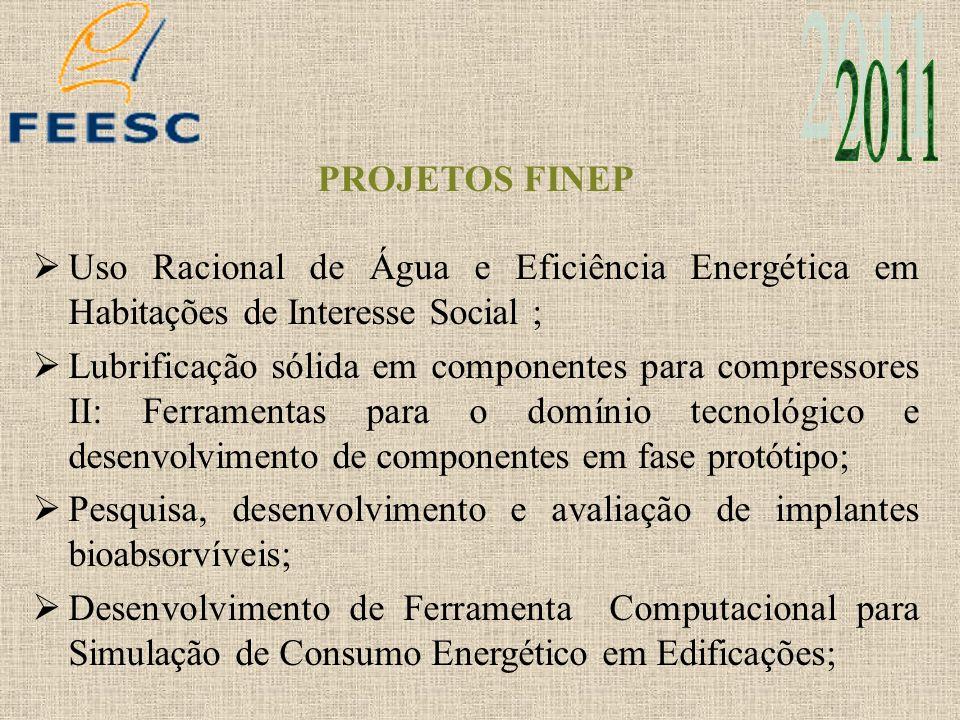 PROJETOS FINEP Uso Racional de Água e Eficiência Energética em Habitações de Interesse Social ; Lubrificação sólida em componentes para compressores I