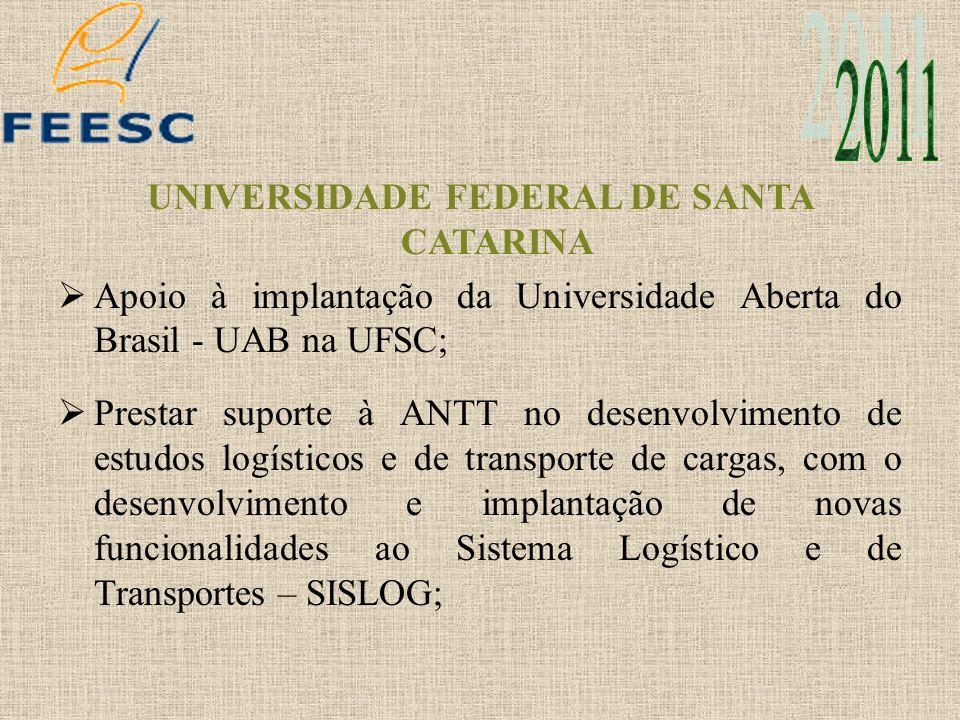 UNIVERSIDADE FEDERAL DE SANTA CATARINA Apoio à implantação da Universidade Aberta do Brasil - UAB na UFSC; Prestar suporte à ANTT no desenvolvimento d