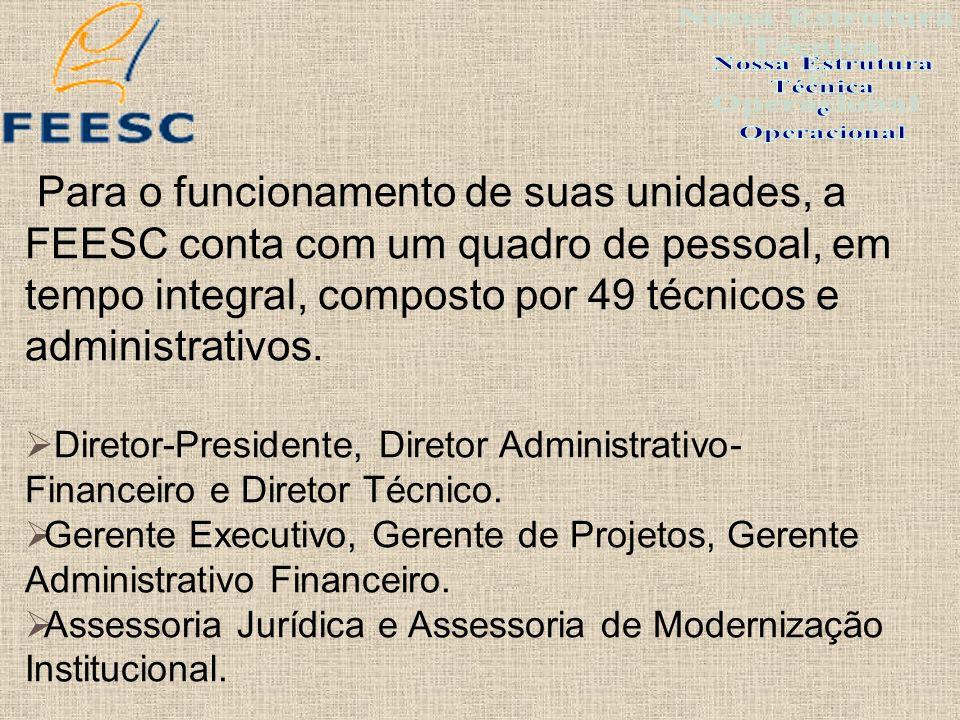 Para o funcionamento de suas unidades, a FEESC conta com um quadro de pessoal, em tempo integral, composto por 49 técnicos e administrativos. Diretor-