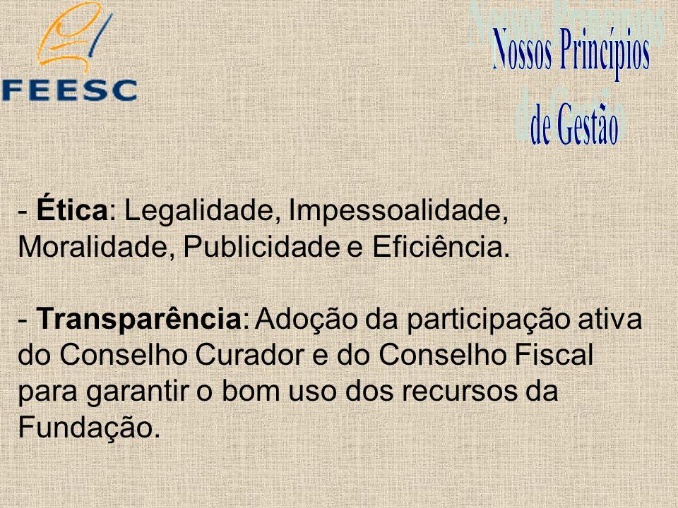 - Ética: Legalidade, Impessoalidade, Moralidade, Publicidade e Eficiência. - Transparência: Adoção da participação ativa do Conselho Curador e do Cons